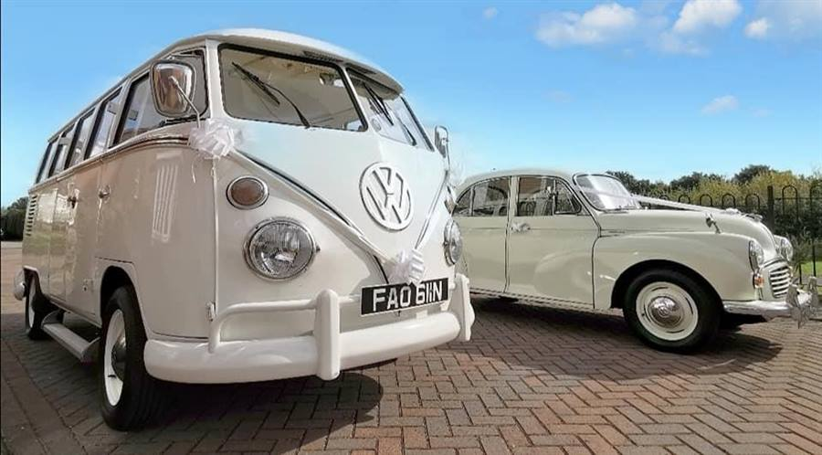 Camper and Morris Minor White Wedding Car Combo