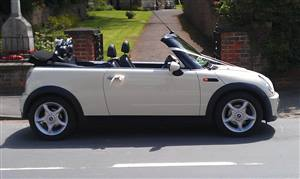 Mini Convertible Wedding car. Click for more information.