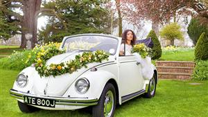 VW Cabriolet Beetle Wedding car. Click for more information.