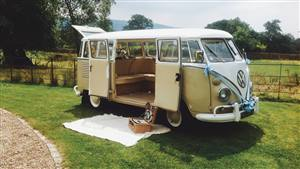 VW Campervan Split-Screen Wedding car. Click for more information.