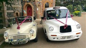 Morris Minor & Taxi Package Deal Wedding car. Click for more information.