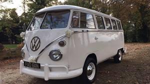 VW Split Screen Campervan Wedding car. Click for more information.