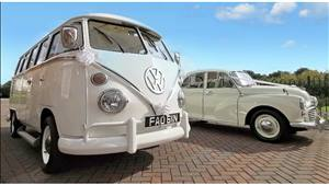 Camper and Morris Minor White Wedding Car Combo Wedding car. Click for more information.