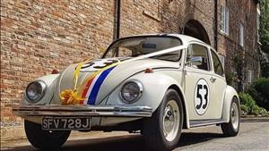 VW Herbie Beetle Wedding car. Click for more information.