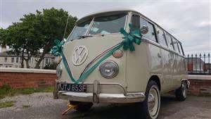 VW Campervan 23 Window Samba Wedding car. Click for more information.